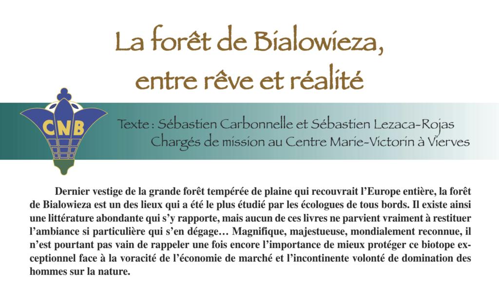 """""""La forêt de Bialowieza, entre rêve et réalité"""". Article dans la revue trimestrielle de la Société royale Cercles des Naturalistes de Belgique asbl"""