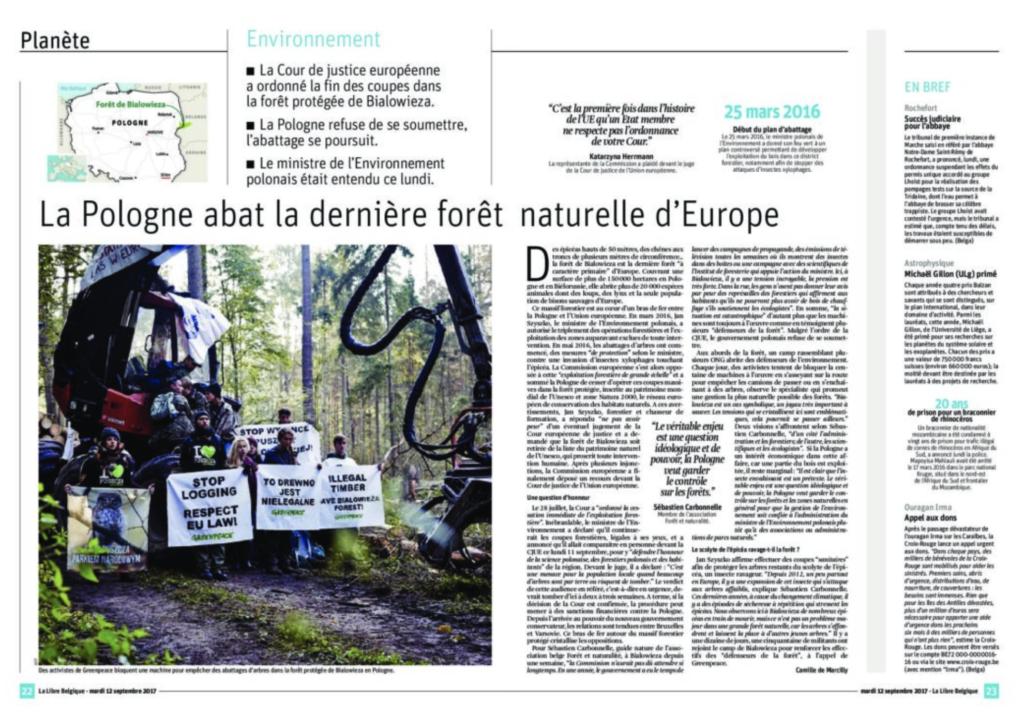 La libre: La Pologne abat la dernière forêt naturelle d'Europe