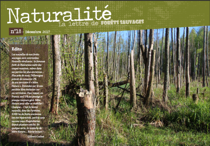 Article dans la revue de l'association française Forêts Sauvages avec de nombreux articles dédiés à la naturalité (décembre 2017).