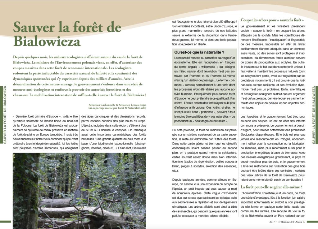 Article dans l'Homme et L'Oiseau, la revue de la Ligue Royale Belge pour la Protection des Oiseaux.